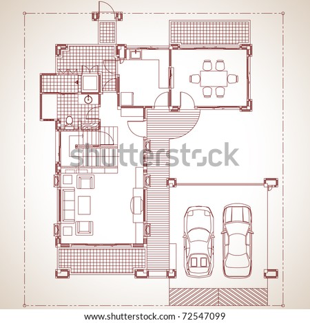 Draft 2 storey residential development. Model applied to the living present. contemporary style [ Ground floor ] - stock vector