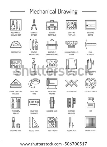 Drafting Tools Icon Collection Technical Drawing Line Icons Set Kit Ruler