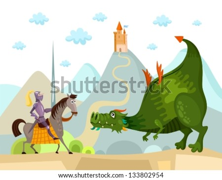 dragon and knight - stock vector