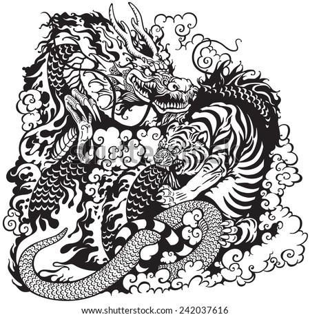 Dragon And Tiger Fight Black White Tattoo Illustration