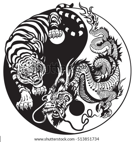 dragon and tiger yin yang symbol of harmony and balance. Black and white