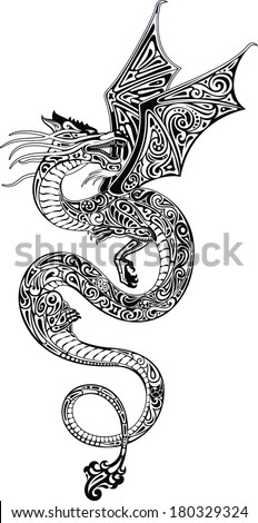 Dragon (black and white) - stock vector