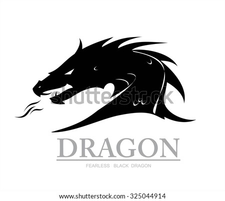 dragon, black dragon. dragon head. dragon head silhouette with the flame from the mouth. vector & illustration. Shooter Dragon. Dragon with Fire. Attacking Dragon. fearless black dragon. - stock vector