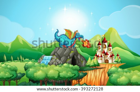 Dragon blowing fire over the castle illustration - stock vector