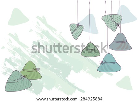 Dragon boat festival rice dumplings - stock vector