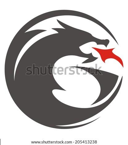 DRAGON CIRCLE SHILOUETTE - stock vector
