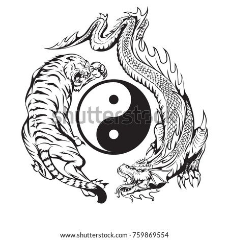 yin yang dragon stock images royalty free images vectors shutterstock. Black Bedroom Furniture Sets. Home Design Ideas