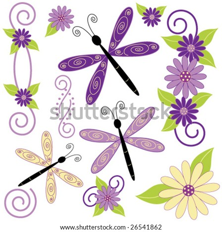 Dragon fly and flower vector.