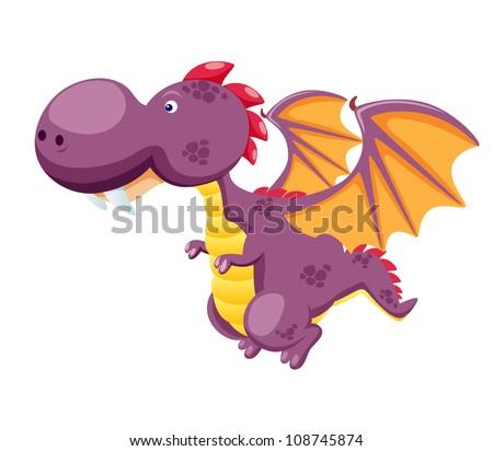 Dragon flying vector - stock vector