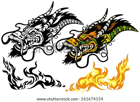 dragon head tattoo, illustration isolated on white background - stock vector