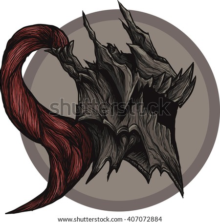 dragon helm, detailed study, texture, armor, knight's helmet with a red tail, gothic, hand-drawn, tattoo - stock vector