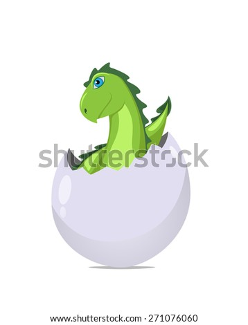 Dragon in the egg. Illustration. Isolated on white background