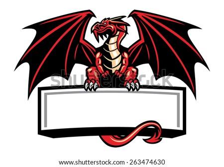 dragon mascot spread the wings - stock vector