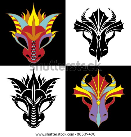 Dragon mask set. Fiery dragon symbol of the new year. Stencil and colored variant