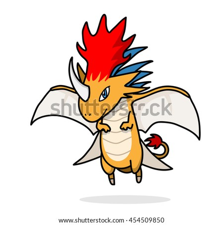 Dragon Monster Video Game. A hand drawn vector illustration of a fantasy mythical monster fire dragon. - stock vector
