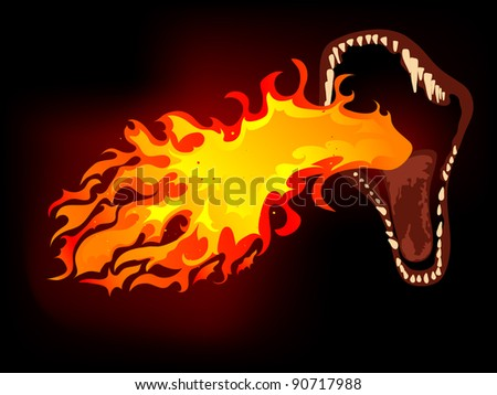 Dragon mouth with the fire - stock vector