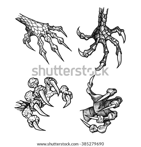 Dragon Monster Paw Claws Wild Tattoo Stock Vector 385279690