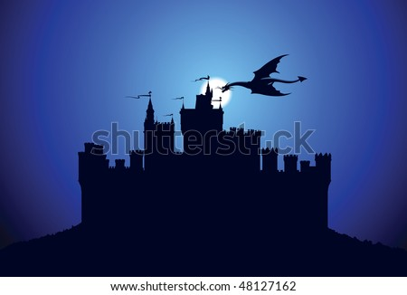 Dragon over the medieval castle - stock vector