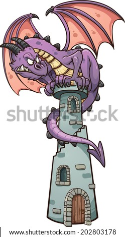 Dragon perched on tower. Vector clip art illustration with simple gradients. All in a single layer. - stock vector