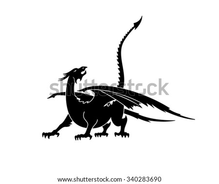 Dragon silhouette. Vector illustration - stock vector