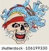 dragon skull - stock vector