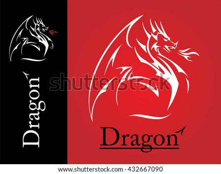 Dragon,  spreading its wing. White Dragon with the flame from the mouth. Dragon with Fire. Attacking Dragon.  - stock vector