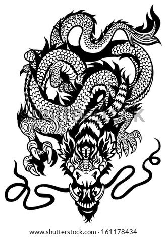 dragon tattoo front view black and white illustration - stock vector