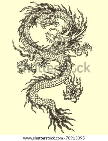 Dragon Tattoo Illustration - stock vector