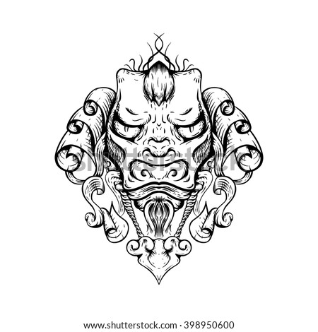 Dragon tattoo T-shirt design. Head of the Asian tiger. Gothic style.