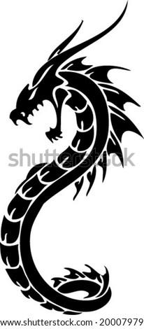 Dragon tribal tattoo - stock vector
