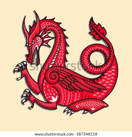Dragon. Vector illustration. Totem animal. Red Dragon. Dragon china zodiac symbols.  - stock vector