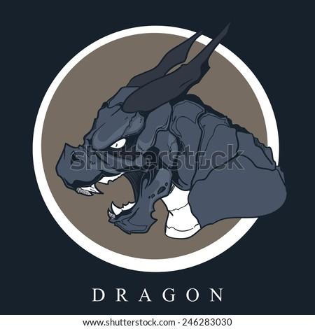 Dragon. Vector logo head dragon. - stock vector