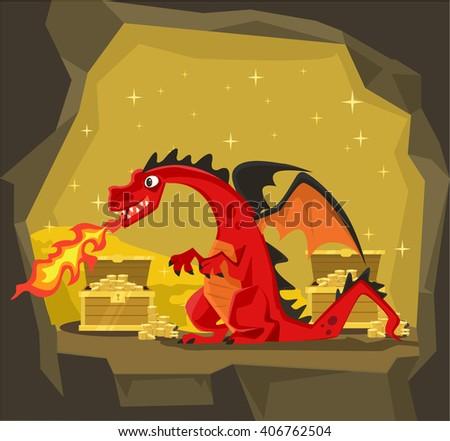Dragon with gold. Vector flat cartoon illustration - stock vector