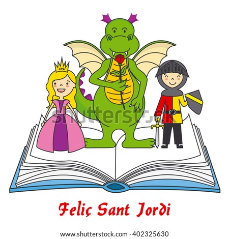 dragon with the princess and knight. Sant Jordi traditional festival in Catalonia
