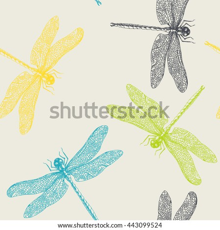 Dragonflies. vector seamless pattern. hand drawn graphic illustration