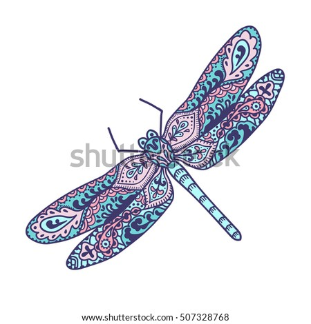 Dragonfly. Animals. Hand drawn doodle insect. Ethnic patterned vector illustration. African, indian, totem, tribal, zentangle design. For adult coloring page, tattoo, posters, print or t-shirt.