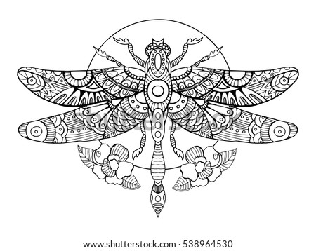 Dragonfly Coloring Book Adults Vector Illustration Stock Vector