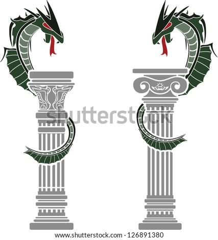 dragons and columns. stencils. vector illustration - stock vector