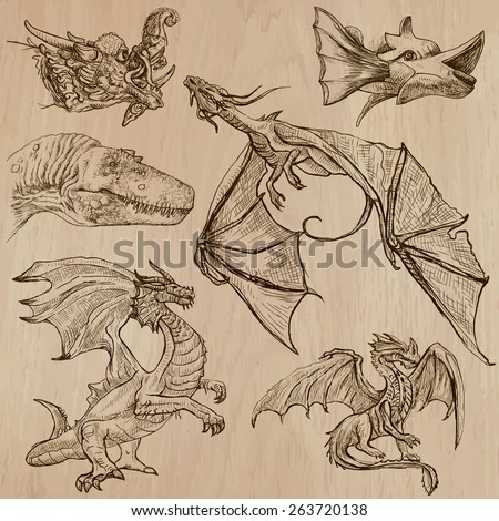 DRAGONS. Collection of an hand drawn illustrations (line art vectors - pack no.3). Each drawing comprises of three or four layers of lines, colored wooden background is isolated. Easy editable. - stock vector