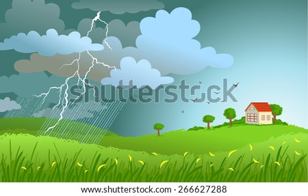 Dramatic landscape with approaching a storm and a rain on a small house. - stock vector