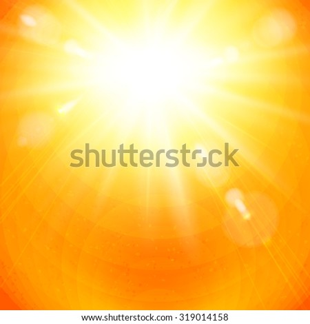 Dramatic vivid golden sunburst in a fiery orange sky with sun flare in square format for use as a background or design element, vector illustration