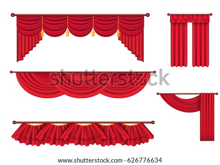 drape and lambrequins of heavy red fabric vector set isolated on white background classic wide