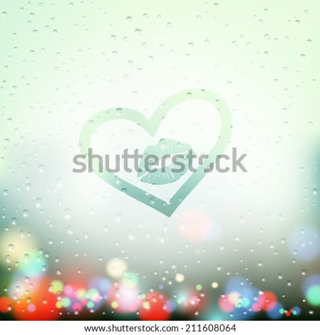 draw a heart with a kiss on the sweaty glass - stock vector