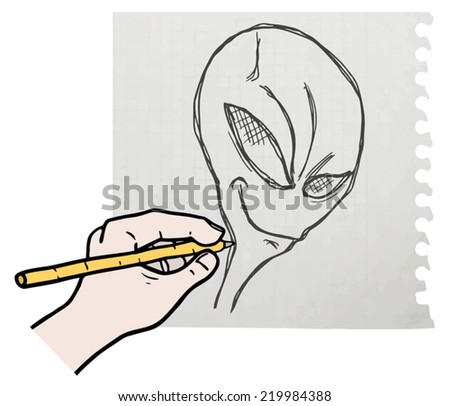 Draw alien - stock vector