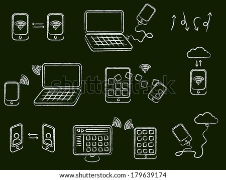 Draw connection icons set  - stock vector