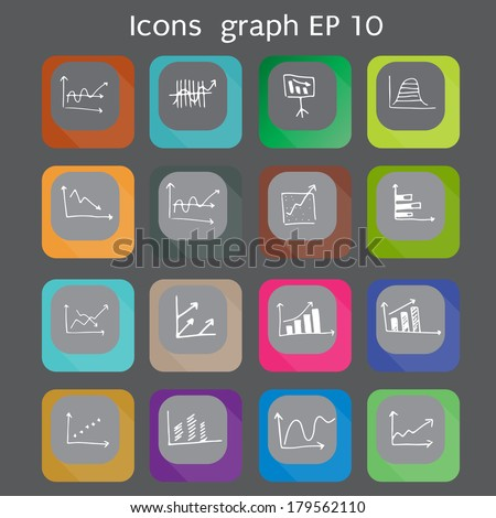 Draw flat Color style Business Graph icon vector set.