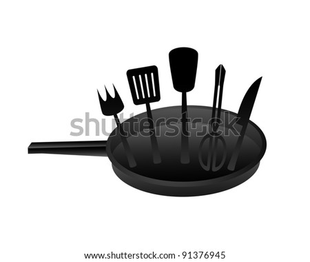 Draw of black cook utensils