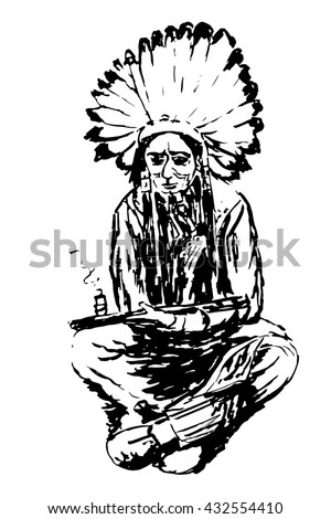 drawing an old Indian in a large headdress made of feathers sitting and smoking a pipe of peace, sketch hand drawn graphics vector illustration