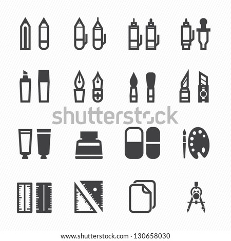 Drawing and Painting Tools Icons with White Background - stock vector