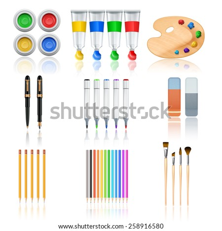 Drawing and painting tools with realistic color palette pencils and brushes isolated vector illustration - stock vector